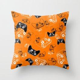Video Game Orange Throw Pillow