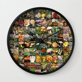 Mushroom Montage Wall Clock