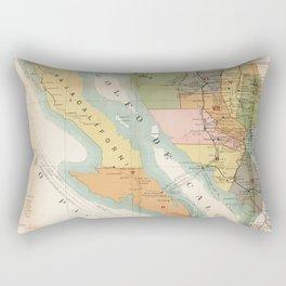 Vintage Map of Baja California (1908) Rectangular Pillow