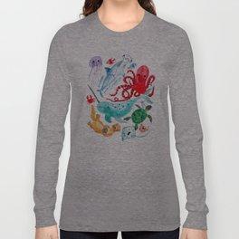 Ocean Creatures - Sea Animals Characters - Watercolor Langarmshirt