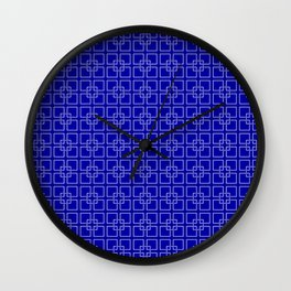 Dark Earth Blue and White Interlocking Square Pattern Wall Clock