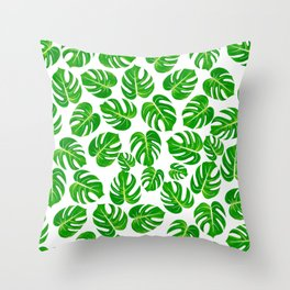 Modern hand painted green yellow watercolor monster leaves Throw Pillow