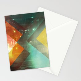 Seventies Orange Abstract Techno Triangles Stationery Cards