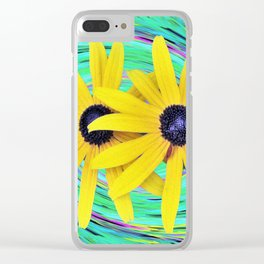 Yellow Rudbeckia Flowers on a Turquoise Garden Swirl Clear iPhone Case