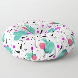 Hello Cactus White Background Floor Pillow