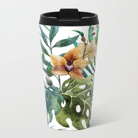 Tropical Floral Pattern 03 Metal Travel Mug