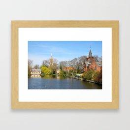 Minnewater In Bruges Belguim Framed Art Print