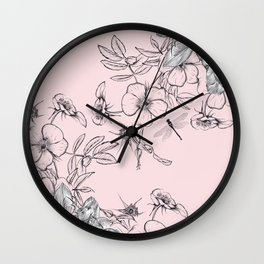 Floral vector rose illustration in vintage style Wall Clock