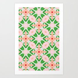 Painted Camelias Matching Pattern  Art Print