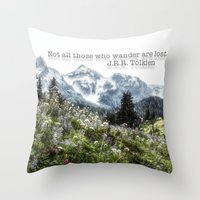 tolkien Throw Pillows featuring Alpine Wildflowers Tolkien Quote  by Elliott's Location Photography
