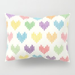 Colorful Knitted Hearts II Pillow Sham