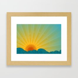 Vintage Ocean Sunset Framed Art Print