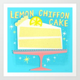 All American Classic Lemon Chiffon Cake Art Print