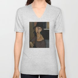 Modigliani - Jeanne Hebuterne With Hat And Necklace Unisex V-Neck