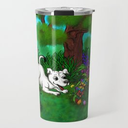 Easter - Spring-awakening - Puppy Capo and Butterfly Travel Mug