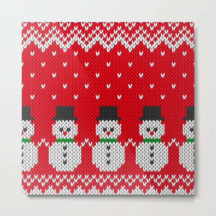 Knitted snowman pattern Metal Print