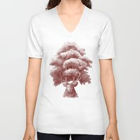 thrones V-neck T-shirts featuring Old Growth  by Terry Fan