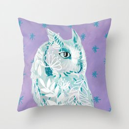 Starry Owl in Bloom Throw Pillow