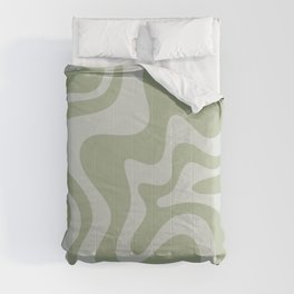 Liquid Swirl Abstract Pattern in Sage Green and Light Sage Gray Comforters