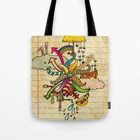notebook Tote Bags featuring Notebook World by Duru Eksioglu
