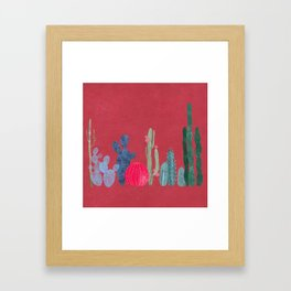 Cactus garden on coral pink Framed Art Print