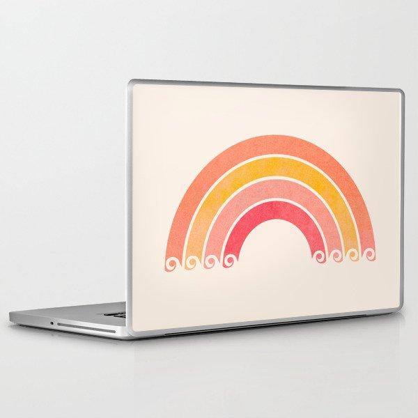 Whimsical Vintage Rainbow Waves Laptop & iPad Skin