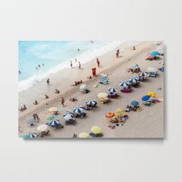 AERIAL VIEW OF PARASOLS AND PEOPLE NEAR BEACH Metal Print