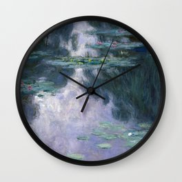 monet water lilies colorful Wall Clock