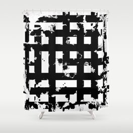 Splatter Hatch - Black and white, abstract hatched pattern Shower Curtain