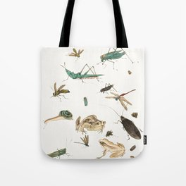 Insects, frogs and a snail Tote Bag