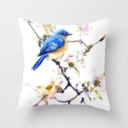Bluebird and Dogwood, bird and flowers spring colors spring bird songbird design Throw Pillow
