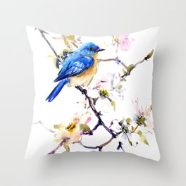 Bluebird and Dogwood, bird and flowers spring colors spring bird songbird design Throw Pillow