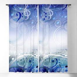 Abstract sheet music design background with musical notes Blackout Curtain