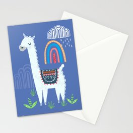 Llama rainbow print Stationery Cards