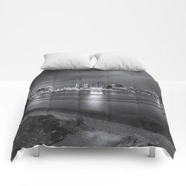 Norfolk Skyline II in Black and White Comforters