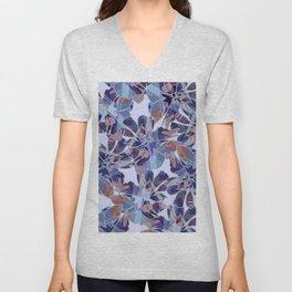 Blue Batik Floral Unisex V-Neck