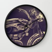 motorcycle Wall Clocks featuring motorcycle by Grettyworks