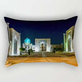 Registan square at night - Samarkand, Uzbekist Rectangular Pillow