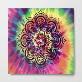 Trippy Rainbow Tiedye Mandala Metal Print