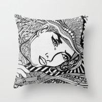 lichtenstein Throw Pillows featuring Zentangle Lichtenstein by butterflyandbear