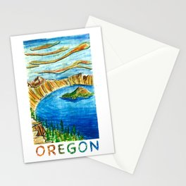 Crater Lake National Park - Oregon Travel Poster Stationery Cards
