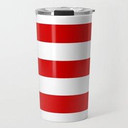 Rosso corsa - solid color - white stripes pattern Travel Mug