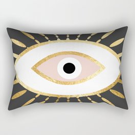 gold foil evil eye in blush Rectangular Pillow