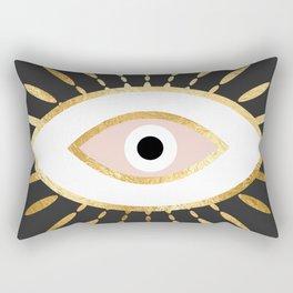 gold foil evil eye in blush Rectangular Pillow