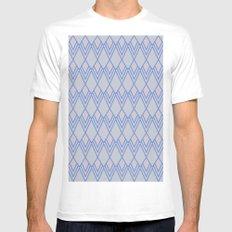 Art Deco Diamond Teardrop - Blue MEDIUM White Mens Fitted Tee