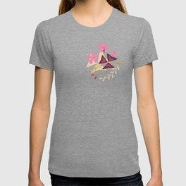Purple Shamrock Floral Layered Pattern / Cream T-shirt