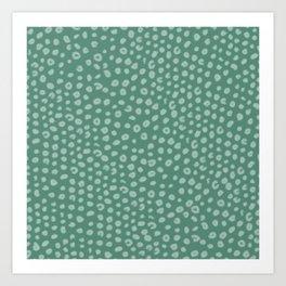 Polka Dot Pattern Dark Green Evergreen Art Print
