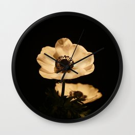Anemone Flowers, Black with Golden Frame, Floral Nature Photography Wall Clock