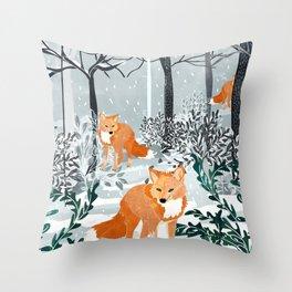 Fox Snow Walk Throw Pillow