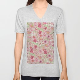 Pastel pink red watercolor hand painted floral Unisex V-Neck